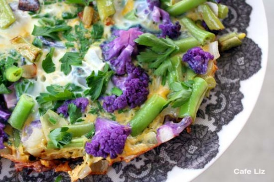 green-bean-purple-cauliflower-frittata