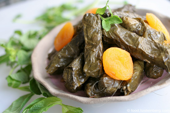 Stuffed Grape Leaves With Rice Lentils And Apricots Cafe Liz